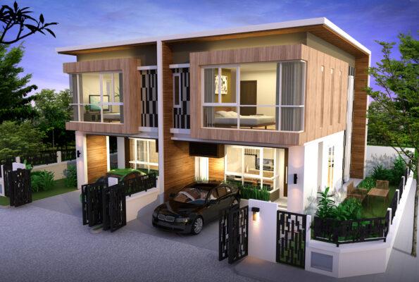 บ้านแฝด-แบบมีรั้ว